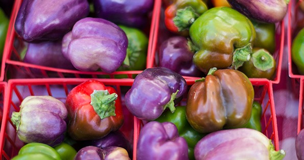 Purple Bell Peppers in Baskets