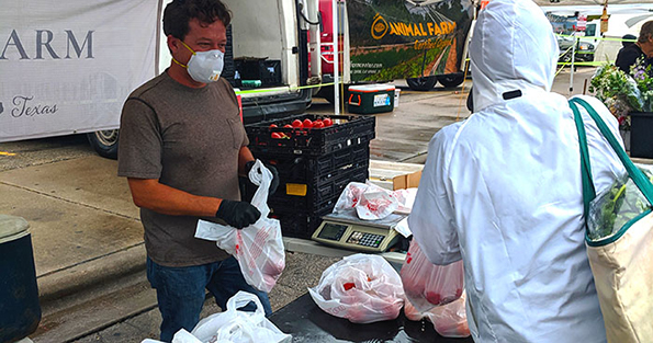 B5 Farm Wearing Mask and Gloves at Market