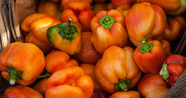 Bell Peppers Falling Out of Basket