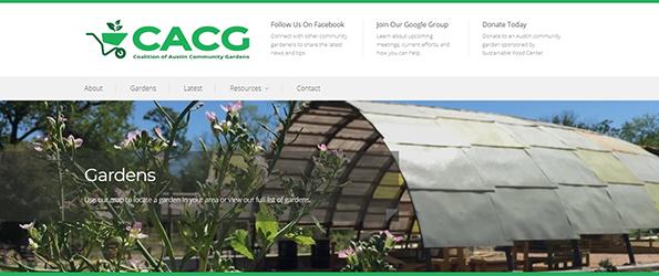 Screenshot of Coalition of Community Gardens Website